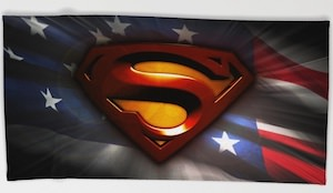 Superman Logo And The US Flag Beach Towel
