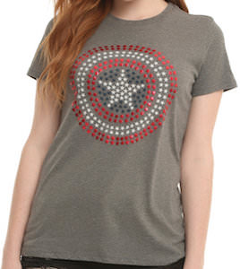 Captain America Studded Logo T-Shirt
