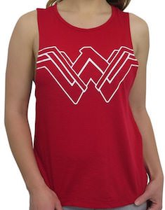 Red Wonder Woman Logo Tank Top With Strapped Back