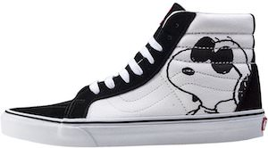 Snoopy & Woodstock Black And White Vans Sneakers