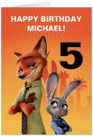 Personalized Zootopia Birthday Card