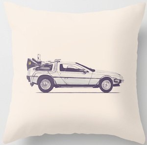 DeLorean Time Machine Pillow