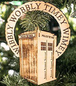 Tardis Wooden Wibbly Wobbly Timey Wimey Ornament