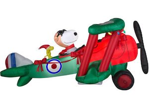 Snoopy & Woodstock Christmas Plane Outdoor Inflatable