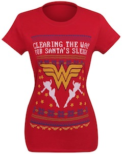 Wonder Woman Clearings The Way For Santa's Sleigh T-Shirt