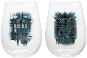 Doctor Who Tardis And Dalek 2 Piece Glass Set