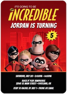 The Incredibles Birthday Invitations