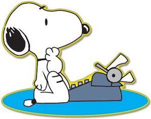 Snoopy And Typewriter Sticker