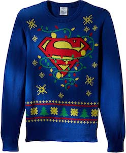 Superman Logo And Lights Christmas Sweater