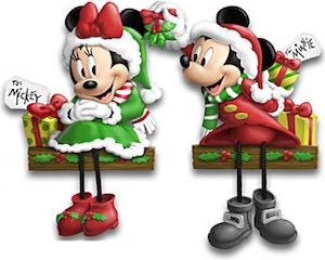 Christmas Minnie And Mickey Shelf Sitters