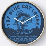 Ozark The Blue Cat Lodge Wall Clock