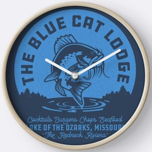 The Blue Cat Lodge Wall Clock