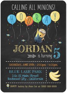 Despicable Me Minion Birthday Invitation