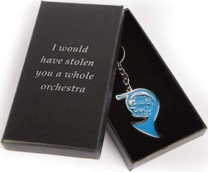 Blue French Horn Key Chain