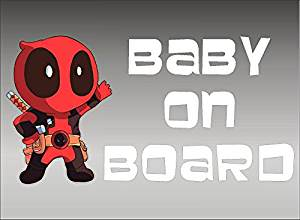 Deadpool Baby On Board Window Decal