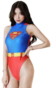 Superman Supergirl High Neck Costume Bodysuit