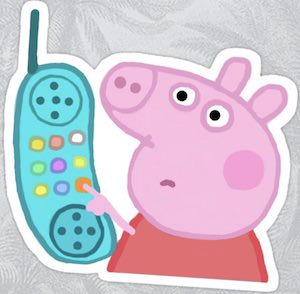 Peppa Pig And The Phone Sticker