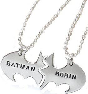 Batman And Robin Logo Necklace Set