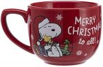 Red Peanuts Christmas Mug with Snoopy and Woodstock