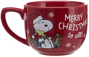 Red Peanuts Christmas Mug