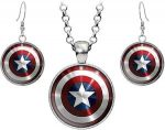 Marvel Captain America Necklace And Earrings Set