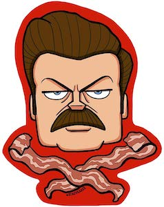 Parks and Recreation Ron Swanson And Bacon Sticker