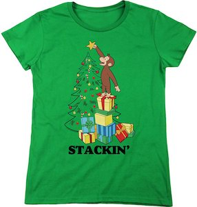 Women's Curious George Christmas T-Shirt