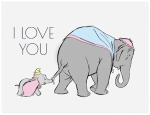Dumbo I Love You Post Card