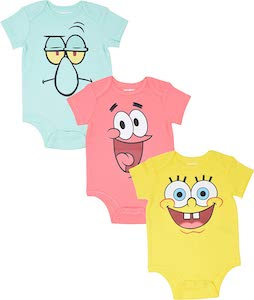 Squidward, Patrick, And SpongeBob Bodysuit Set