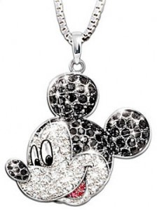 Mickey Mouse Crystal Pendant Necklace