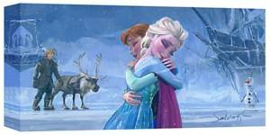 Frozen Anna And Elsa Hug Canvas Art Print