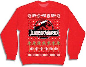 Jurassic World Red Christmas sweater