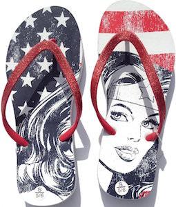 Wonder Woman US flag Flip Flops