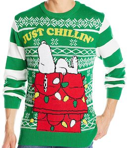 peanuts christmas sweater with snoopy just chillin
