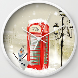 Olaf And Phone Boot Wall Clock