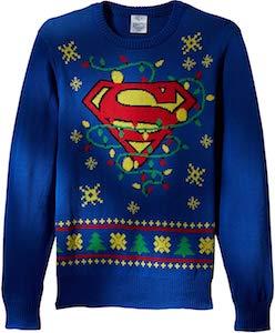 Superman Logo And Lights Christmas Sweater