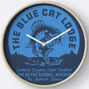 The Blue Cat Lodge Wall Clock
