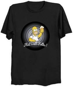 The Simpsons Homer Simpson That's All Folks! T-Shirt