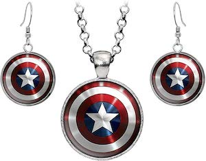 Captain America Necklace And Earrings Set