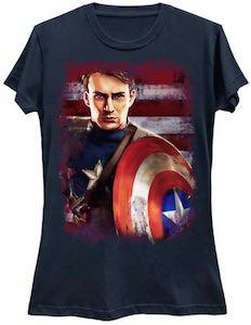 Captain America On the Flag T-Shirt