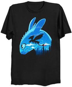 Night Fury Flying a Blue Sky T-Shirt