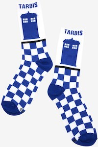 Blue And White Tardis Socks