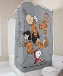 Peanuts Charaters Floating In Space Shower Curtain