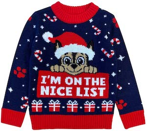 Kids PAW Patrol Nice List Christmas Sweater